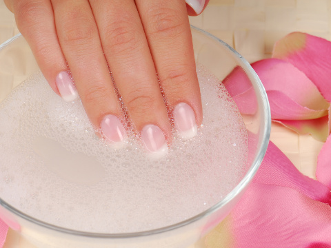 Bodycare of hands. Concept composition of manicure services.